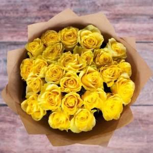 Букет 15 желтых роз с упаковкой R679