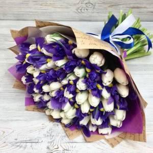 Сборный букет 101 штука (тюльпаны и ирисы) с упаковкой R1244